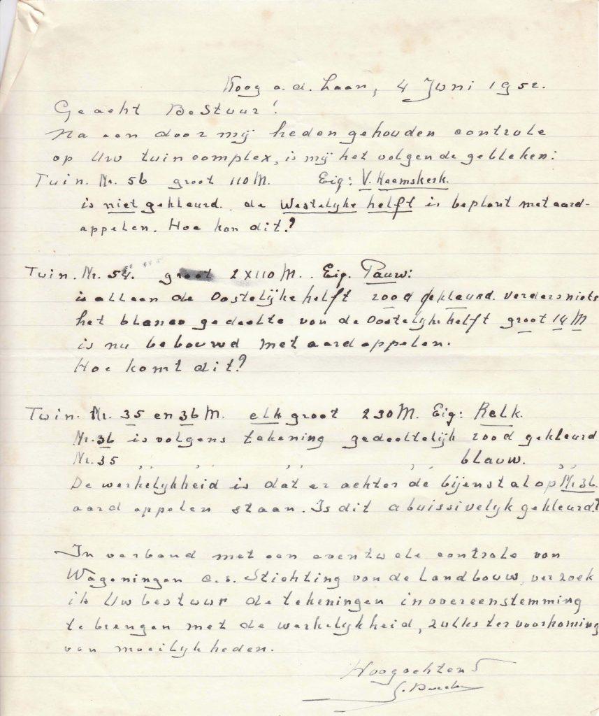 1952 opmerkingen tuincie